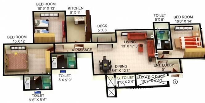 1624 sqft, 3 bhk Apartment in Mahindra Splendour Bhandup West, Mumbai at Rs. 55000