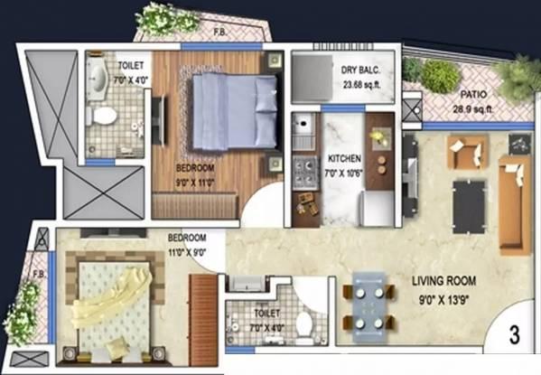 850 sqft, 2 bhk Apartment in Arkade Art Mira Road East, Mumbai at Rs. 16000