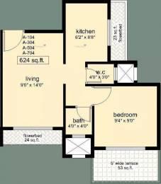 624 sqft, 1 bhk Apartment in Swaraj Symphony Kharghar, Mumbai at Rs. 55.0000 Lacs