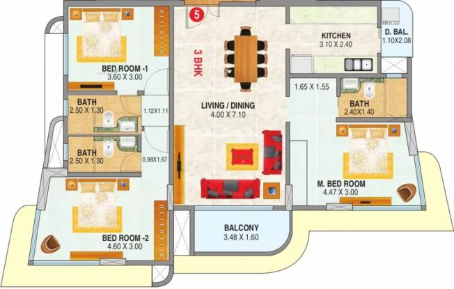1421 sqft, 3 bhk Apartment in  Rizvi Cedar Malad East, Mumbai at Rs. 55000