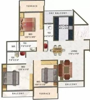 1690 sqft, 3 bhk Apartment in Meena Meena Residency Kharghar, Mumbai at Rs. 1.1500 Cr