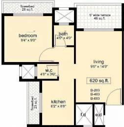 620 sqft, 1 bhk Apartment in Swaraj Symphony Kharghar, Mumbai at Rs. 55.0000 Lacs