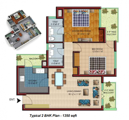 1350 sqft, 2 bhk Apartment in Builder Leafstone Apartments Highland Marg, Chandigarh at Rs. 36.5000 Lacs
