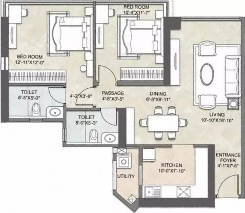 1347 sqft, 2 bhk Apartment in Kalpataru Crest Bhandup West, Mumbai at Rs. 45000