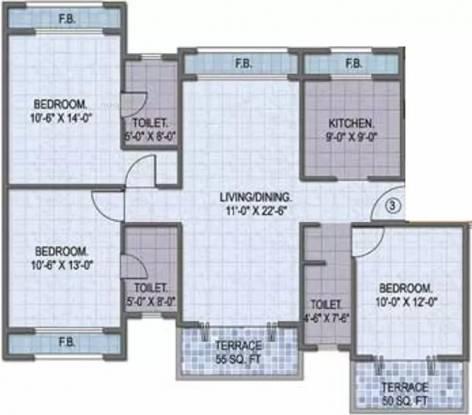 1760 sqft, 3 bhk Apartment in Goodwill Paradise Kharghar, Mumbai at Rs. 28000
