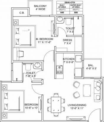 800 sqft, 2 bhk Apartment in ARG Ananta Jagatpura, Jaipur at Rs. 22.0000 Lacs