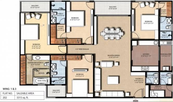 3315 sqft, 4 bhk Apartment in FS The Crest Durgapura, Jaipur at Rs. 2.8178 Cr