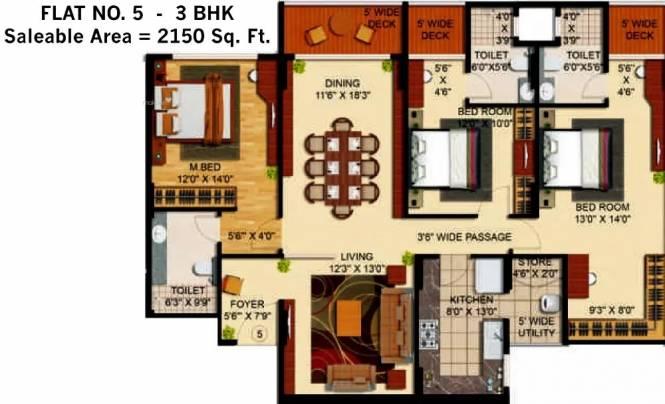 2150 sqft, 3 bhk Apartment in Bardiya The Legend Durgapura, Jaipur at Rs. 1.9350 Cr