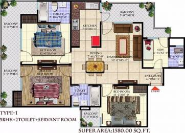 1580 sqft, 3 bhk Apartment in Andromida Planet One Indraprastha Yojna, Ghaziabad at Rs. 44.2678 Lacs