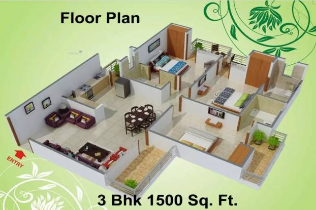 1500 sqft, 3 bhk Apartment in Charms Castle Raj Nagar Extension, Ghaziabad at Rs. 45.0099 Lacs