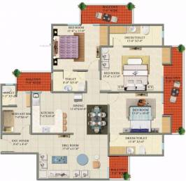 1850 sqft, 3 bhk Apartment in Charms Castle Raj Nagar Extension, Ghaziabad at Rs. 48.1557 Lacs