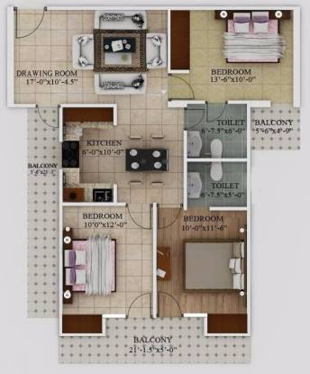 1350 sqft, 3 bhk Apartment in Javin Raj Empire Raj Nagar Extension, Ghaziabad at Rs. 32.0099 Lacs