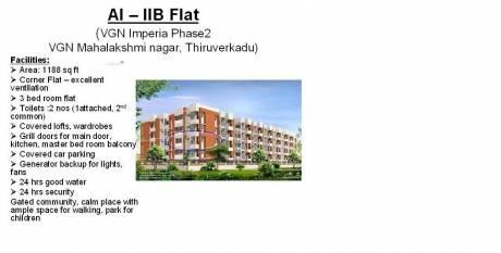 1188 sqft, 3 bhk Apartment in Builder VGN Imperia Phase 2 VGN Mahalakshmi nagar Nandakumar Street, Chennai at Rs. 13000