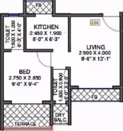 626 sqft, 1 bhk Apartment in Skyline Skyline Residency Kharghar, Mumbai at Rs. 40.0000 Lacs