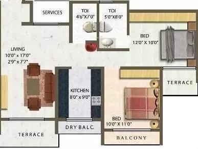 1196 sqft, 2 bhk Apartment in Meena Meena Residency Kharghar, Mumbai at Rs. 86.0000 Lacs