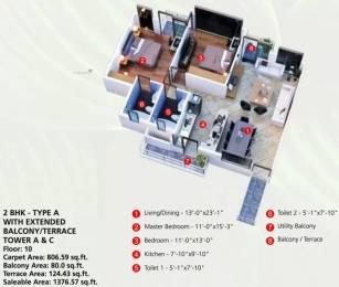 1376 sqft, 2 bhk Apartment in Raheja Vanya Sector 99A, Gurgaon at Rs. 65.0000 Lacs