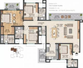 2343 sqft, 3 bhk Apartment in Sobha City Sector 108, Gurgaon at Rs. 1.9500 Cr
