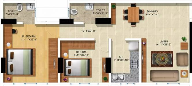 780 sqft, 2 bhk Apartment in Nandivardhan Avisha Girgaon, Mumbai at Rs. 2.0100 Cr