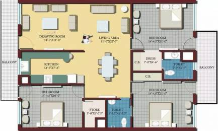 1850 sqft, 3 bhk Apartment in Galaxy Palm Height Sector 125 Mohali, Mohali at Rs. 55.0000 Lacs