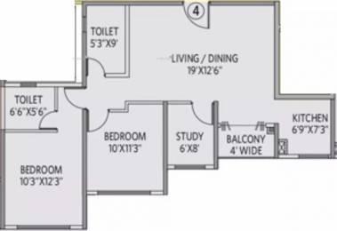 1100 sqft, 2 bhk Apartment in Siddha Galaxia 2 Rajarhat, Kolkata at Rs. 59.0000 Lacs