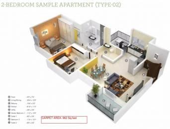 1250 sqft, 2 bhk Apartment in Kumar Princeville Kengeri, Bangalore at Rs. 17000