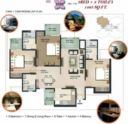 1405 sqft, 3 bhk Apartment in Sunworld Vanalika Sector 107, Noida at Rs. 20000