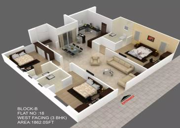 1862 sqft, 3 bhk Apartment in Green The Hive Puppalaguda, Hyderabad at Rs. 27000