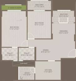 1197 sqft, 2 bhk Apartment in Goyal Orchid Woods Narayanapura on Hennur Main Road, Bangalore at Rs. 22500