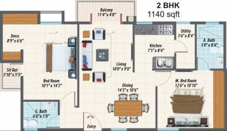 1140 sqft, 2 bhk Apartment in Inner Urban Eco Space Sarjapur, Bangalore at Rs. 12000