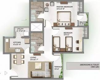 988 sqft, 2 bhk Apartment in 3C Lotus Panache Sector 110, Noida at Rs. 14000