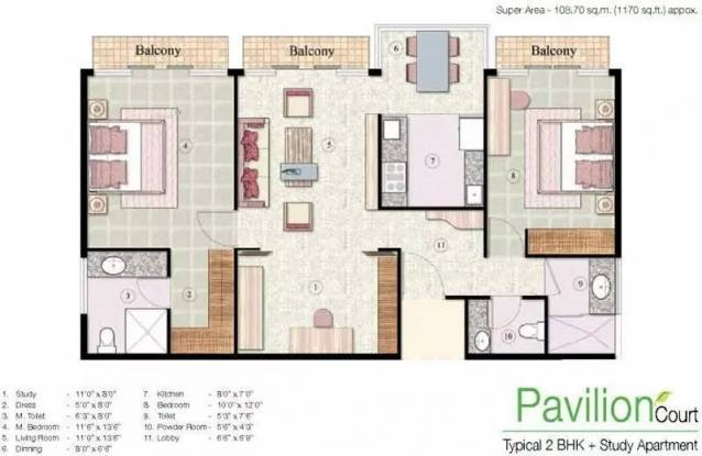 1170 sqft, 2 bhk Apartment in Jaypee The Pavilion Court Sector 128, Noida at Rs. 14500