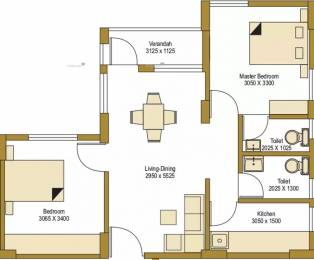 834 sqft, 2 bhk Apartment in Bengal Peerless Avidipta Mukundapur, Kolkata at Rs. 58.0000 Lacs