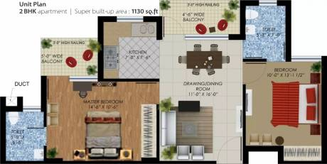 1130 sqft, 2 bhk Apartment in SBP Housing Park Mohan Nagar, Dera Bassi at Rs. 10000