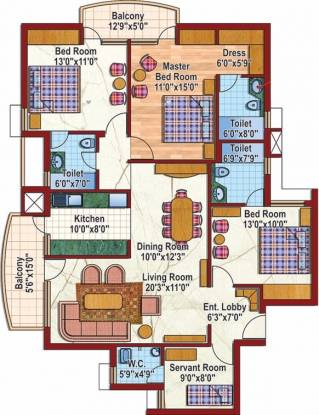1765 sqft, 3 bhk Apartment in Purvanchal Silver City Sector 93, Noida at Rs. 22000