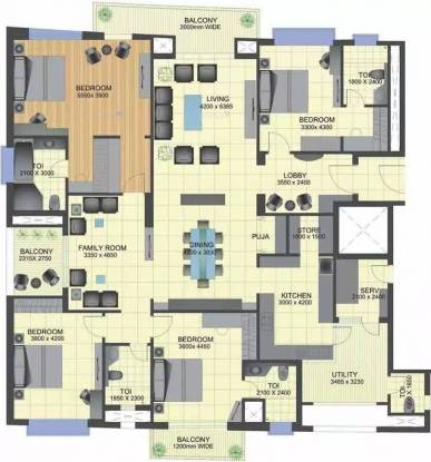 3350 sqft, 4 bhk Apartment in TGB Meghdutam Sector 50, Noida at Rs. 65000