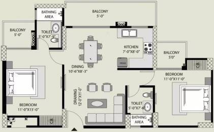 1110 sqft, 2 bhk Apartment in Exotica Fresco Sector 137, Noida at Rs. 12000