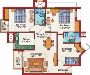 1135 sqft, 2 bhk Apartment in Purvanchal Silver City Sector 93, Noida at Rs. 16000