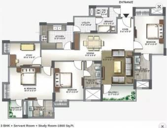 1860 sqft, 3 bhk Apartment in 3C Lotus Boulevard Sector 100, Noida at Rs. 22000
