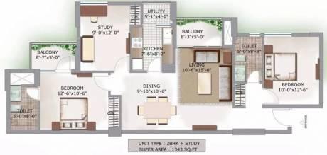 1343 sqft, 2 bhk Apartment in 3C Lotus Boulevard Sector 100, Noida at Rs. 18000