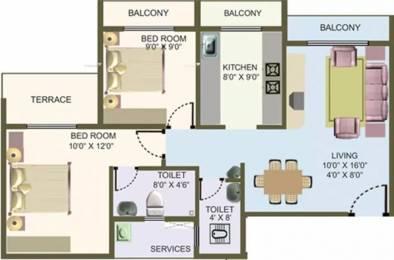1065 sqft, 2 bhk Apartment in Nisarg Hyde Park Kharghar, Mumbai at Rs. 18000