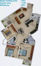 1411 sqft, 3 bhk Apartment in Aratt Vivera Begur, Bangalore at Rs. 58.0000 Lacs