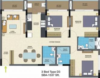 1537 sqft, 3 bhk Apartment in Nitesh Columbus Square Bagaluru Near Yelahanka, Bangalore at Rs. 85.0000 Lacs