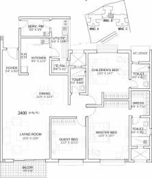2400 sqft, 3 bhk Apartment in Karle Town Centre Zenith Nagawara, Bangalore at Rs. 60000