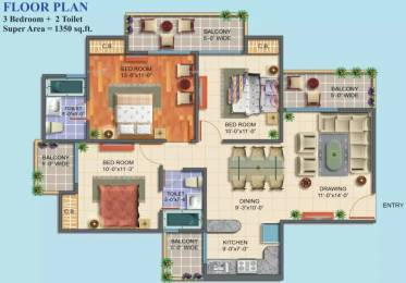 1350 sqft, 3 bhk Apartment in Maxblis White House II Sector 75, Noida at Rs. 16000