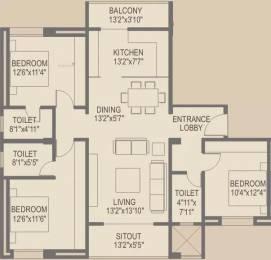 1650 sqft, 3 bhk Apartment in Sagar Waters Edge Pimple Nilakh, Pune at Rs. 35000