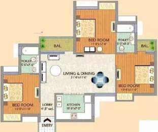 1215 sqft, 3 bhk Apartment in SDS NRI Residency Omega, Greater Noida at Rs. 11000