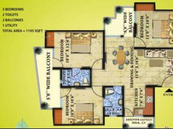 1195 sqft, 3 bhk Apartment in Radicon Vedantam Sector 16C Noida Extension, Greater Noida at Rs. 35.8800 Lacs