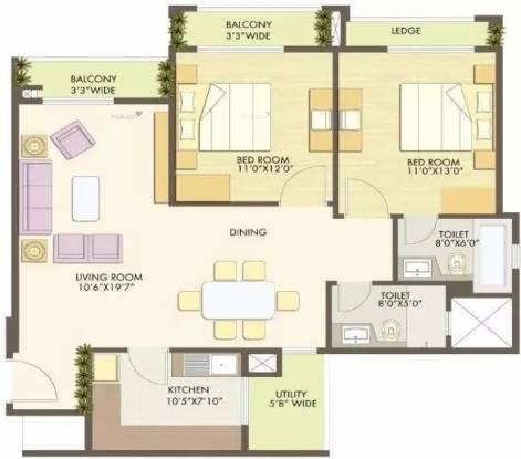 1321 sqft, 2 bhk Apartment in Godrej Anandam Ganeshpeth, Nagpur at Rs. 30000