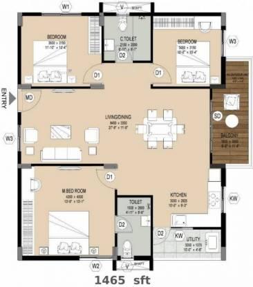 1465 sqft, 3 bhk Apartment in Muppa Alankrita Narsingi, Hyderabad at Rs. 54.9375 Lacs