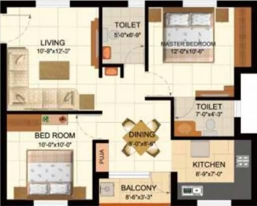 940 sqft, 2 bhk Apartment in Sare Dewy Terraces Tiruporur Near Kelambakkam, Chennai at Rs. 35.0000 Lacs
